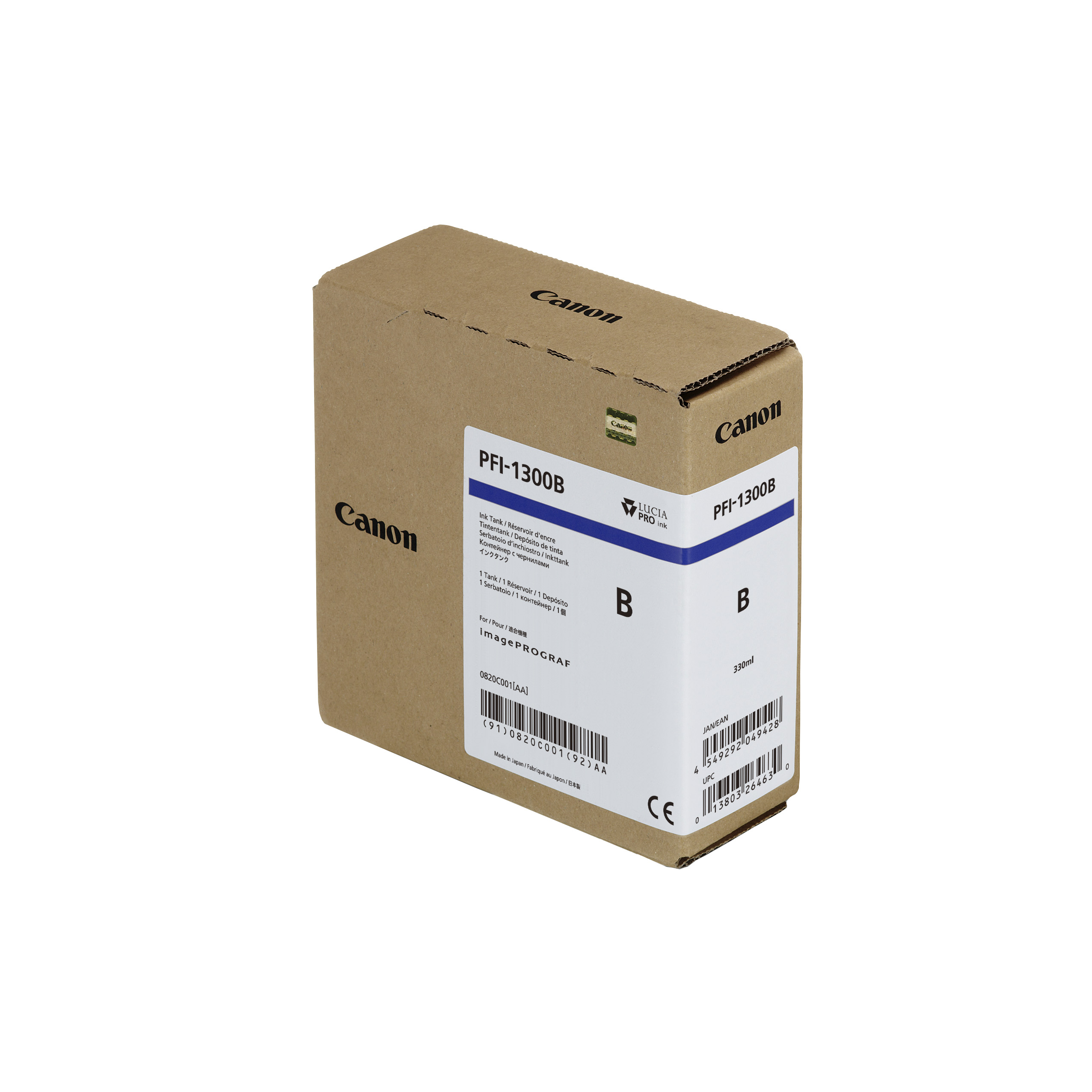 Canon PFI-1300B Blue Ink Tank - 330ml Cartridge - for Canon PRO-2000, PRO-4000 Printers - 0820C001AA  - next day delivery from GDS Graphic Design Supplies Ltd