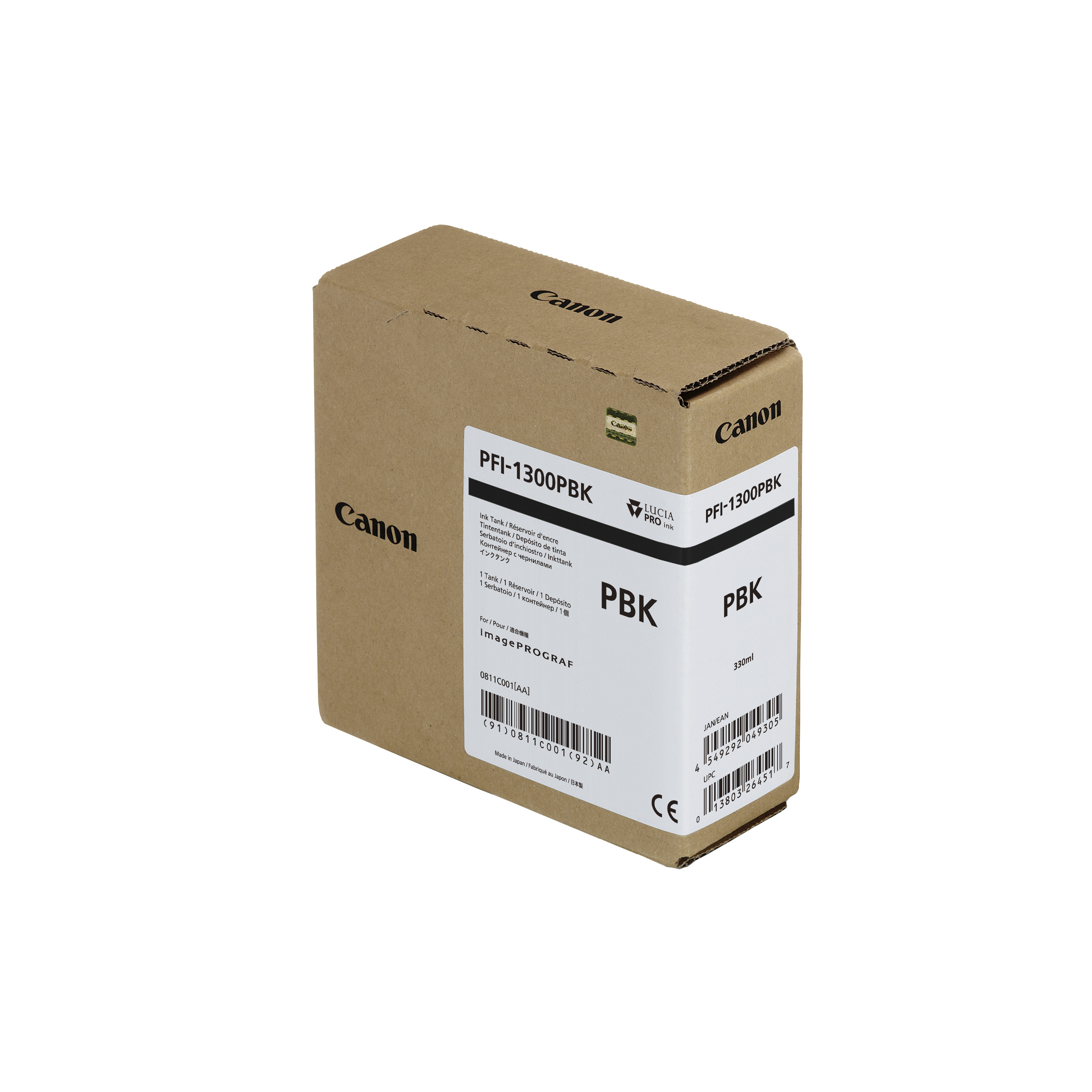 Canon PFI-1300PBK Photo Black Ink Tank - 3300ml Cartridge - for Canon PRO-2000, PRO-4000, PRO-4000S & PRO-6000S Printer - 0811C001AA - next day delivery from GDS Graphic Design Supplies Ltd