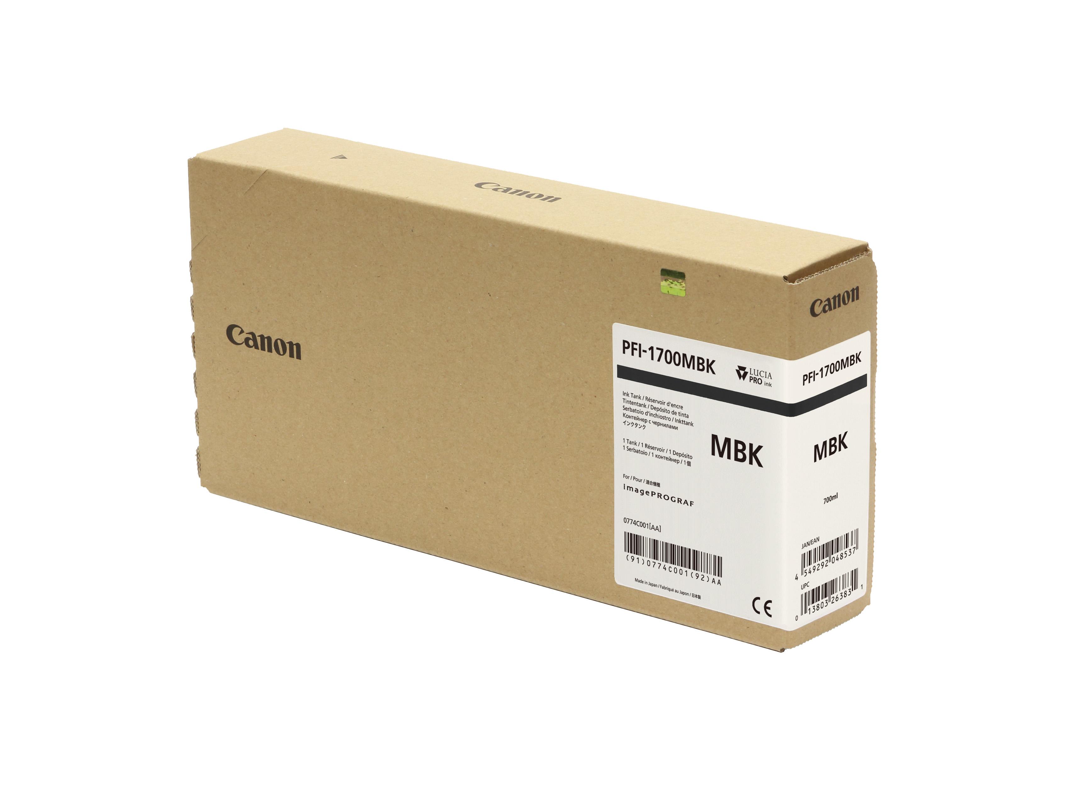 Canon PFI-1700MBK Matte Black Ink Tank - 700ml Cartridge - for Canon PRO-2000, PRO-4000, PRO-4000S & PRO-6000S Printer - 0774C001AA