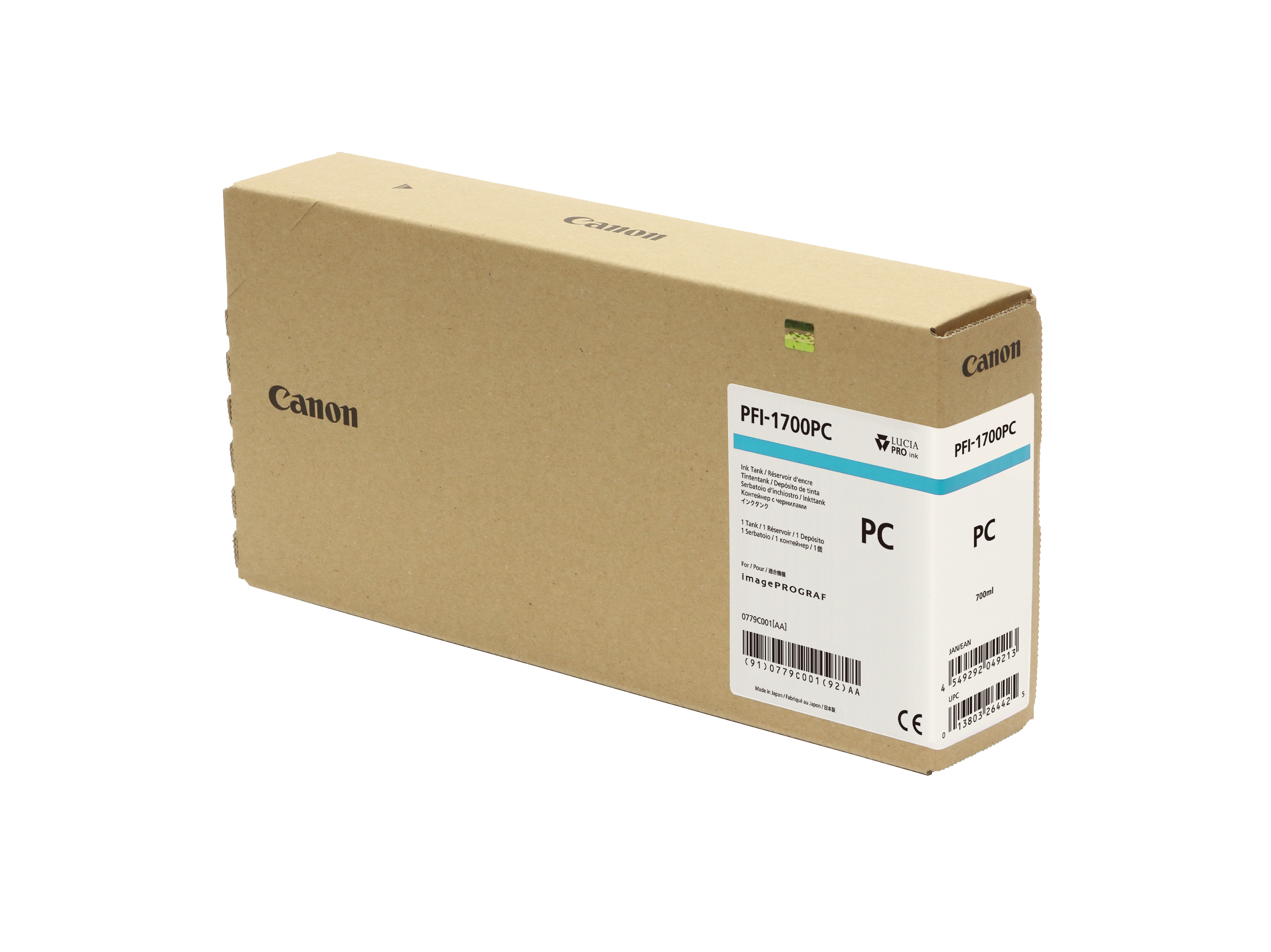 Canon PFI-1700PC Photo Cyan Ink Tank - 700ml Cartridge - for Canon PRO-2000, PRO-4000, PRO-4000S & PRO-6000S Printer - 0779C001AA - next day delivery from GDS Graphic Design Supplies Ltd
