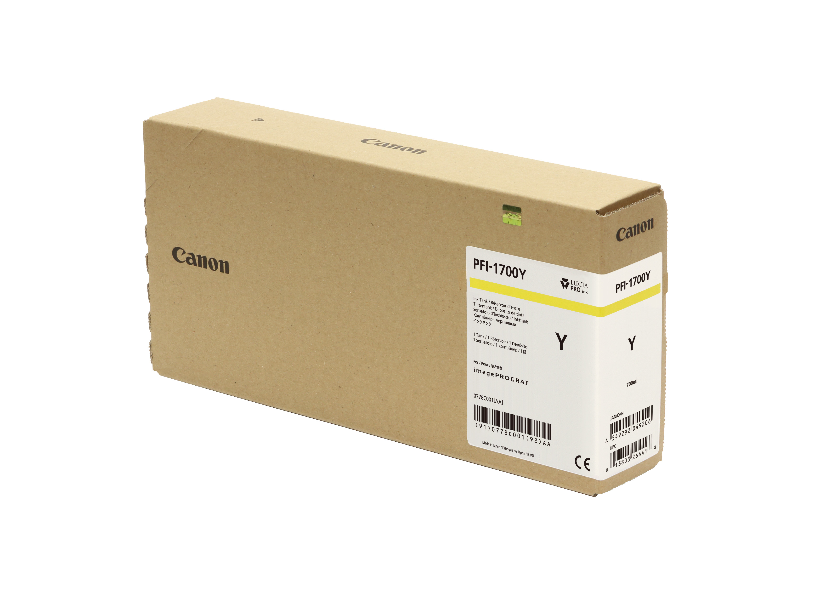 Canon PFI-1700Y Yellow Ink Tank - 700ml Cartridge - for Canon PRO-2000, PRO-4000, PRO-4000S & PRO-6000S Printer - 0778C001AA - next day delivery from GDS Graphic Design Supplies Ltd