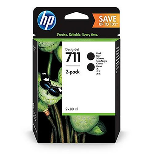 HP 711 Black Ink Cartridge Multipack - 2 x 80ml Large Cartridges - P2V31A - express next day delivery for HP DesignJet T120, T125, T130, T520, T525 & T530 ePrinters