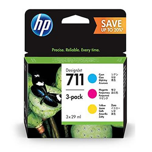 HP 711 Colour Ink Cartridge Multipack - 3 x 28ml Cyan Magenta & Yellow Cartridges - P2V32A - HP DesignJet T120, T125, T130, T520, T525 & T530 ePrinters -express next day delivery from GDS Graphic Design Supplies Ltd - HP DesignJet Specialist Partner