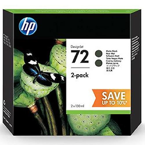 HP 72 Matte Black Ink Cartridge Multipack / Twinpack - 2 x 130ml Cartridges - P2V33A