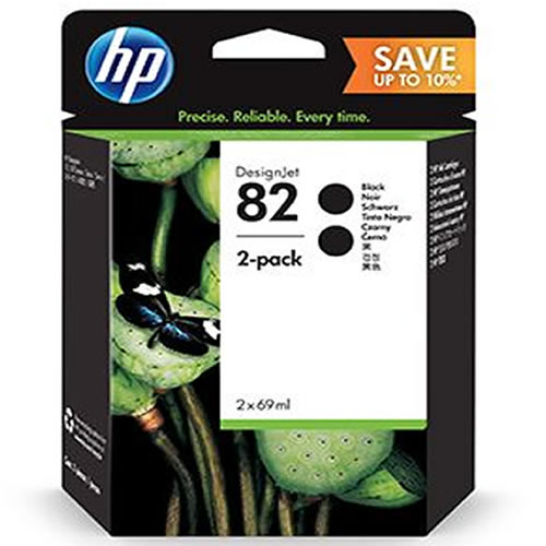 HP 82 Black Ink Cartridge Twin Pack - 2 x 69ml - P2V34A - Express next day delivery from GDS Graphic Design Supplies Ltd