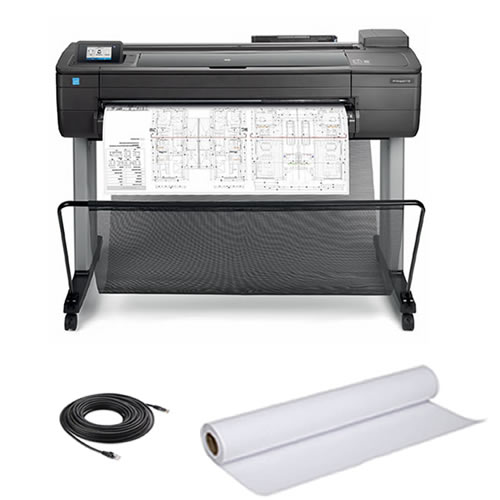 HP DesignJet T730 Printer - with free paper roll and data cable