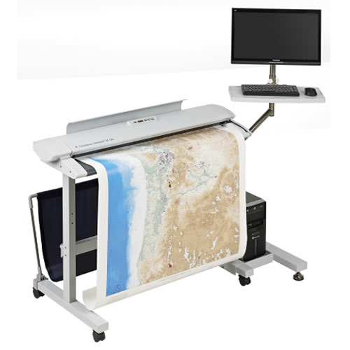 Colortrac SmartLF SC 36e A0 High Speed Express Colour Document Scanner - shown on floor stand with PC mounting option (not included)