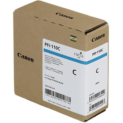 Canon PFI-110C Cyan Ink Tank - 160ml Cartridge - for Canon TX-2000, TX-3000 & TX-4000 Printer - 2365C001AA
