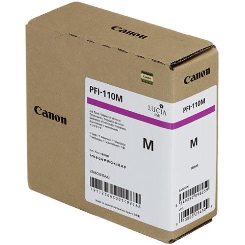 Canon PFI-110M Magenta Ink Tank - 160ml Cartridge - for Canon TX-2000, TX-3000 & TX-4000 Printer - 2366C001AA