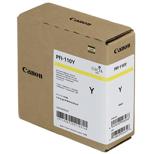 Canon PFI-110Y Yellow Ink Tank - 160ml Cartridge - for Canon TX-2000, TX-3000 & TX-4000 Printer - 2367C001AA