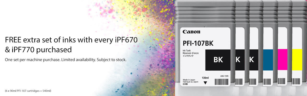 Get an extra set of PFI-107 inks FREE when purchasing a Canon iPF670 or iPF770 printer