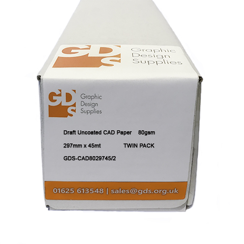 GDS Draft Inkjet CAD Paper Roll 80gsm 297mm x 45mt Twin Pack Boxed