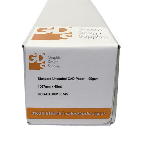 "GDS Standard Uncoated Inkjet CAD Printer / Plotter Paper Roll - 90gsm - 42"" inch - 1067mm x 45mt Boxed"
