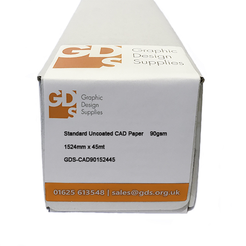 """GDS Standard Uncoated Inkjet CAD Paper Roll - 90gsm - 60"""" inch 1524mm x 45mt - Boxed"""