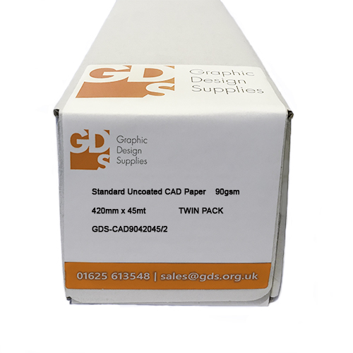GDS Standard Inkjet CAD Paper Roll for mono & colour techincal line drawings - 90gsm 420mm x 50mt Twin Pack - BOXED