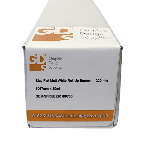 "GDS Stay Flat Matt White Rigid Roller Banner Film Roll - 220 micron - 42"" inch - 1067mm x 30mt"