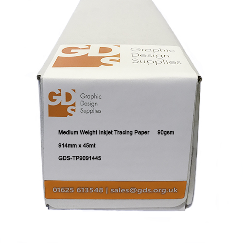 GDS Medium Weight Inkjet Tracing Paper Rolls 90gsm 36 inch A0 914mm x 45mt - Boxed