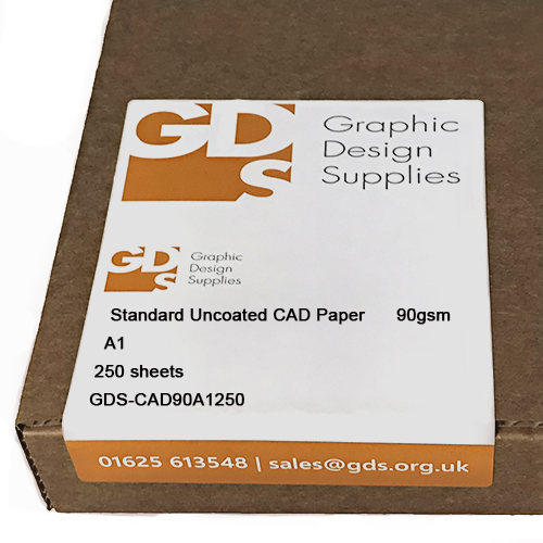 GDS Standard Inkjet CAD Plotter Paper Cut Sheets for techincal line drawings - 90gsm A1 x 250 cut sheets - Boxed