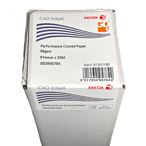 "Xerox Performance Coated CAD Inkjet Plotter Paper Roll | 90gsm | 36"" inch 