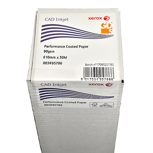 "Xerox Performance Coated CAD Inkjet Plotter Paper Roll | 90gsm | 24"" inch 