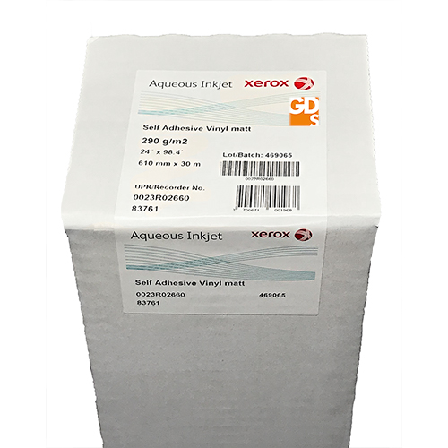 Xerox Aqueous Self Adhesive White Matte Vinyl Roll 27 micron A1 610mm x 30mt 023R02660