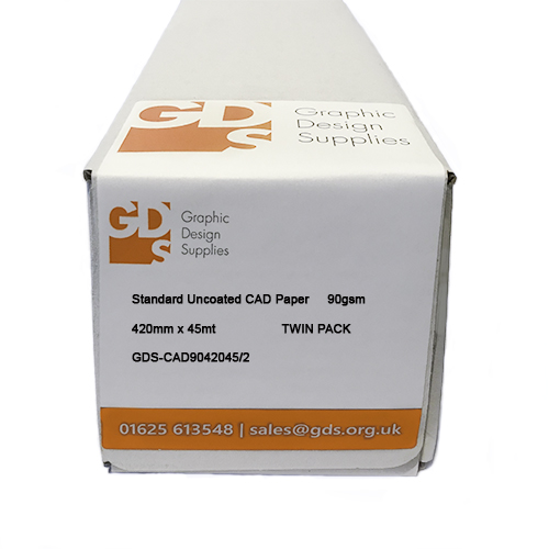 "HP DesignJet T120 Printer Paper Rolls | Standard Uncoated Inkjet CAD Plotter Paper | 90gsm | 16.54"" inch | A2 | 420mm x 45mt | Twin Pack | GDS-CAD9042045/2/T120"