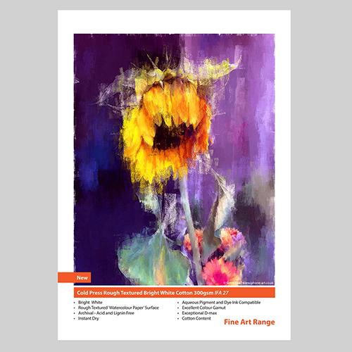 Innova Cold Press Rough Textured Bright White Cotton Paper Roll - 300gsm - 1524mm x 15mt - IFA-27-1524x15