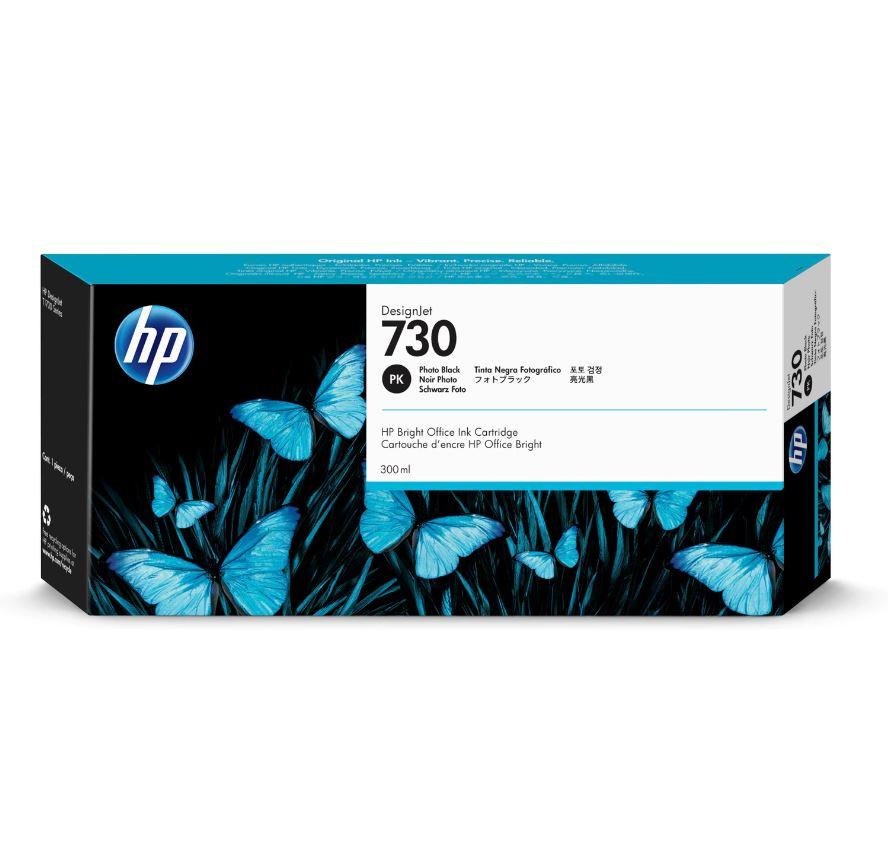 HP 730 Ink Cartridge - Photo Black - 300ml - for HP DesignJet T1700 Printers - P2V73A