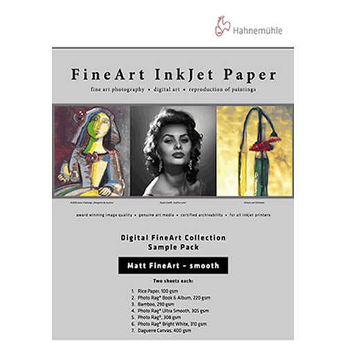 Hahnemühle Digital Inkjet Fine Art Paper | Media Test Pack | Matt Smooth | 14 Sheets | 10640303
