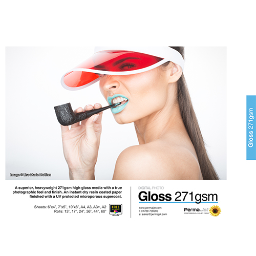 """PermaJet Gloss 271 Digital Photo Paper Roll - 271gsm - 13"""" inch - 330mm x 10mt - APJ50849"""