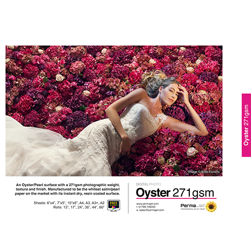 "PermaJet Oyster 271 Digital Photo Paper Roll - 271gsm - 44"" inch - 1118mm x 30mt - APJ50998"