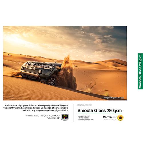 "PermaJet Smooth Gloss 280 Digital Photo Paper Roll - 280gsm - 24"" inch - 610mm x 30mt - APJ50568"