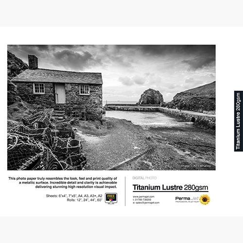 "PermaJet Titanium Lustre 280 Metallic Digital Photo Paper Roll - 280gsm - 12"" inch - 304.8mm x 25mt - Panoramic Roll - APJ25048"