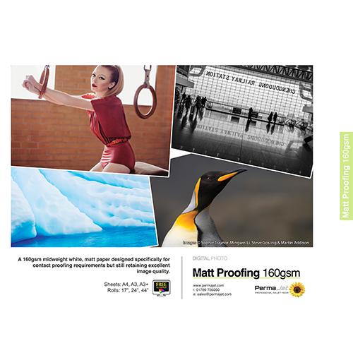 """PermaJet Matt Proofing 160 Digital Photo Paper Roll - 160gsm - 17"""" inch - 432mm x 30mt - APJ51558"""