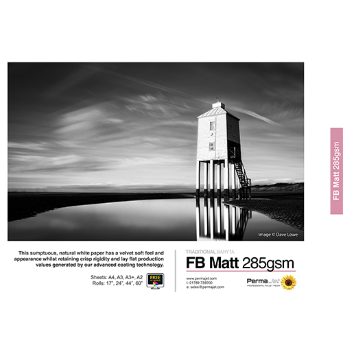 """PermaJet FB Matt 285 Paper Roll - 285gsm - 17"""" inch - 432mm x 15mt - APJ20657"""