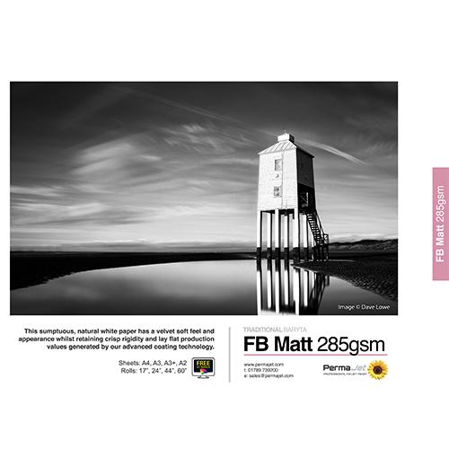 """PermaJet FB Matt 285 Paper Roll - 285gsm - 44"""" inch - 1118mm x 15mt - APJ20697"""