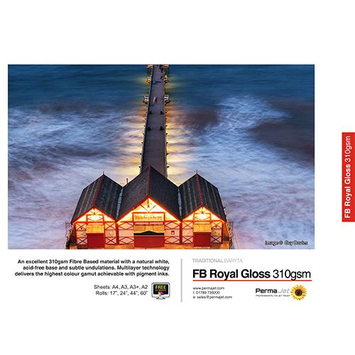 PermaJet FB Royal Gloss 310 Paper Sheets - 310gsm - A3 x 25 sheets - APJ62623