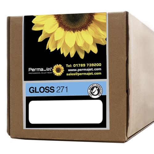 """PermaJet Gloss 271 Digital Photo Paper Roll - 271gsm - 44"""" inch - 1118mm x 30mt - APJ50898"""