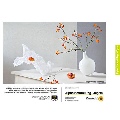 "PermaJet Alpha Natural Rag 310 Paper Roll - 310gsm - 44"" inch - 1118mm x 15mt - APJ21897"