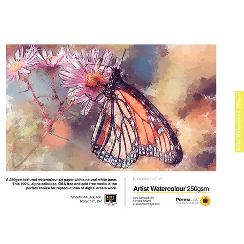 "PermaJet Artist Watercolour 250 Paper Roll - 250gsm - 24"" inch - 610mm x 15mt - APJ60167"