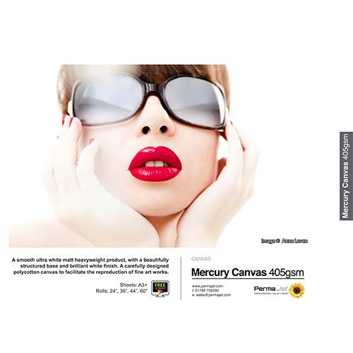 "PermaJet Mercury Ultra White Matt Canvas 405 Roll - 405gsm - 60"" inch - 1524mm x 15mt - APJ24398"