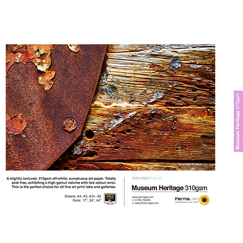 "PermaJet Museum Heritage 310 Paper Roll - 310gsm - 44"" inch - 1118mm x 15mt - APJ60297"