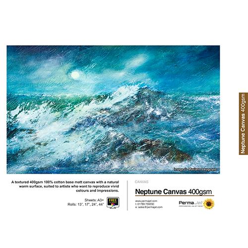 "PermaJet Neptune Matt Canvas 400 Roll - 400gsm - 44"" inch - 1118mm x 12mt - APJ23288"