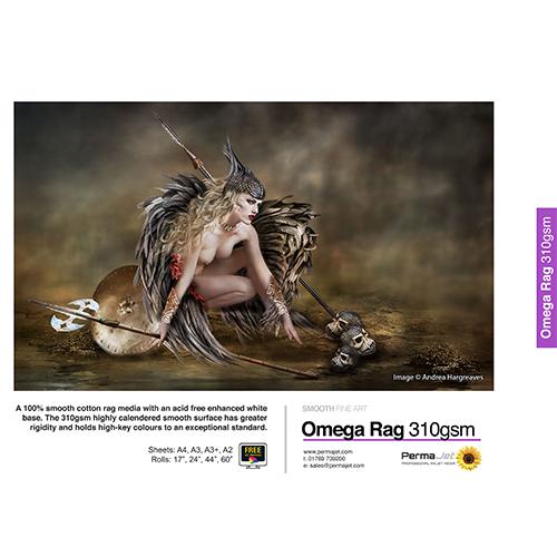 PermaJet Omega Rag 310 Paper Sheets - 310gsm - A3+ x 25 sheets - APJ21933