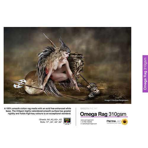 "PermaJet Omega Rag 310 Paper Roll - 310gsm - 44"" inch - 1118mm x 15mt - APJ21997"