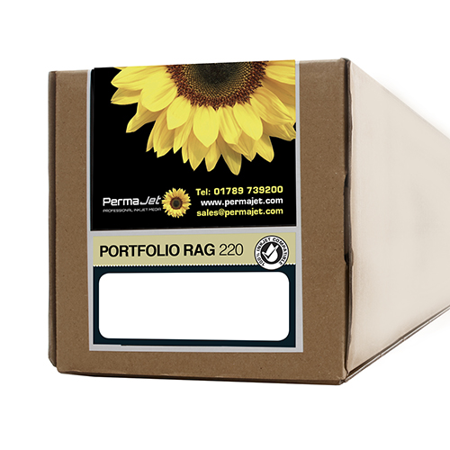 "PermaJet Portfolio Rag 220 Paper Roll - 220gsm - 44"" inch - 1118mm x 15mt - APJ21697"