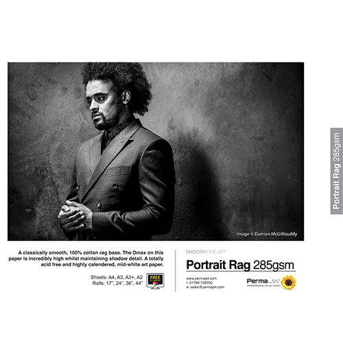 "PermaJet Portrait Rag 285 Paper Roll - 285gsm - 44"" inch - 1118mm x 15mt - APJ61397"