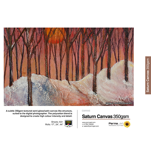 "PermaJet Saturn Semi-Gloss Canvas 350 Roll - 350gsm - 17"" inch - 432mm x 12mt - APJ23358"