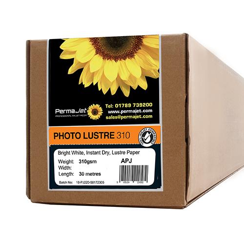"PermaJet Photo Lustre 310 Digital Photo Paper Roll - 310gsm - 24"" inch - 610mm x 30mt - APJ22068"