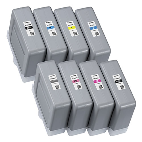 Canon PFI-1300 Printer Ink Cartridges | Full set of 8 x ink tanks for Canon PRO-4000S, PRO-4100S, PRO-6000S & PRO-6100S Printers | 8 x 330ml | 0810C001AA-0817C001AA